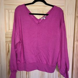 Pink V-neck Sweatshirt